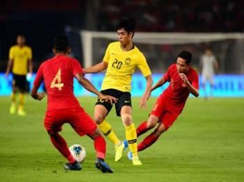 Aksi sulung pusingan kedua Kumpulan G Kelayakan Piala Dunia 2022/Piala Asia 2023 di Stadium Gelora Bung Karno di Jakarta. Malaysia menewaskan Indonesia 3-2. - Foto Bernama