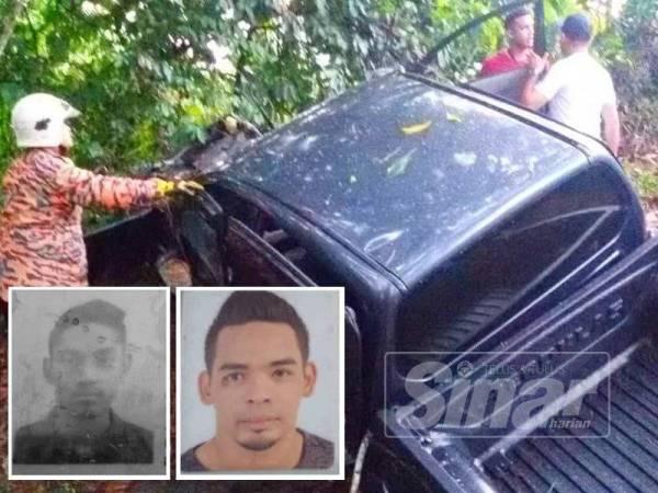 Anggota dari Balai Bomba Rantau Panjang melakukan operasi menyelamat di tempat kejadian. (Gambar kecil kiri, Muhamad Azrol maut dan Syed Akil Fitri mengalami kecederaan.)