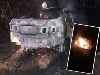 Keadaan kereta terbabit yang musnah akibat kebakaran tersebut awal pagi tadi. (Gambar kecil, anggota berusaha memadamkan api pada kenderaan terbabit.) - Ihsan Bomba