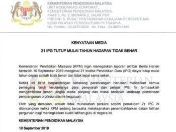 Kenyataan Kementerian Pendidikan berhubung isu penutupan 21 IPG.