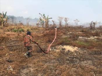 Anggota bomba memadamkan kebakaran tanah gambut di ladang milik Mardi di Pontian.