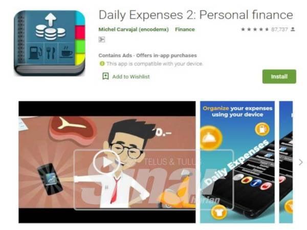 DAILY Expenses 2: Personal Finance cukup popular dengan lebih 87,000 ulasan itu sesuai untuk dijadikan rakan maya agar dapat memantau aliran keluar masuk wang.