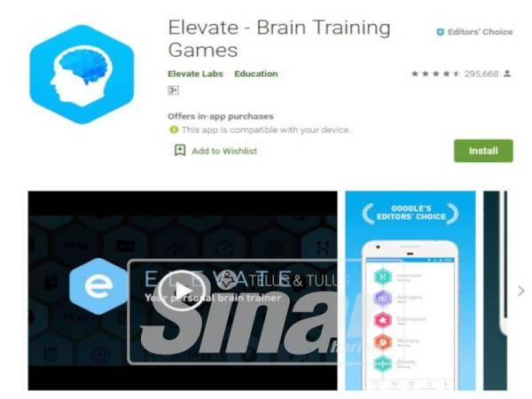 APLIKASI Elevate: Brain Training boleh membantu merehatkan minda selepas pulang bekerja.