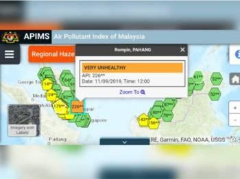 Rompin, Pahang mencatatkan peningkatan bacaan IPU kepada tahap sangat tidak sihat.