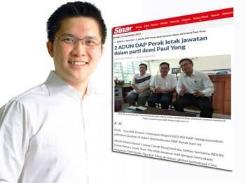 Laporan Sinar Harian kelmarin. Gambar kiri: Wong Kah Woh