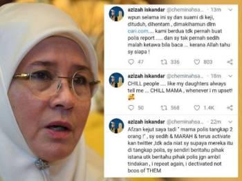 Ciapan Twitter nukilan Tunku Azizah yang menyatakan rasa sedih dan marah setelah beberapa individu ditangkap susulan tindakan baginda menyahaktifkan akaun Twitter rasminya pada Rabu lalu.