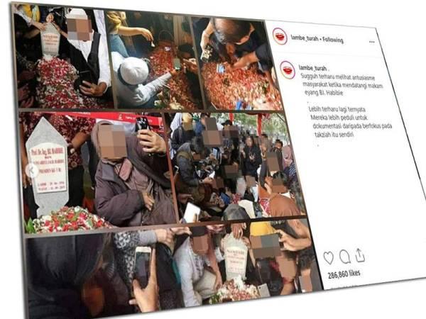 Seorang pengguna di Instagram berkongsi gambar penziarah yang terlampau 'ghairah' mengambil swafoto di pusara BJ Habibie. - Foto: lambe_turah/Instagram