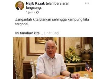 Najib bersiaran langsung di akaun Facebook miliknya dan menyampaikan pesanan khas buat rakyat negara ini sempena sambutan Hari Malaysia esok.