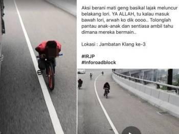 Gelagat beberapa kanak-kanak menunggang basikal lajak secara berbahaya di atas jalan raya tular di media sosial.