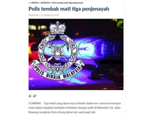 Laporan berita Sinar Online sebelum ini.