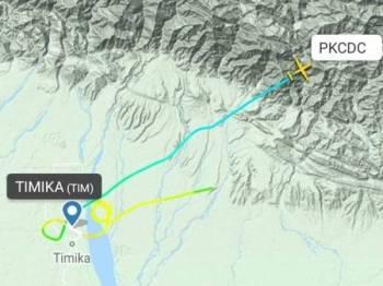 Pesawat Twin Otter DHC6-400 berlepas dari bandar Timika menuju ke Ilaga. -Foto Istimewa