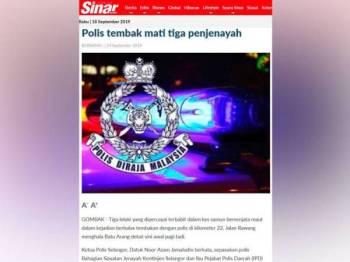 Laporan Sinar Harian 14 September lalu.