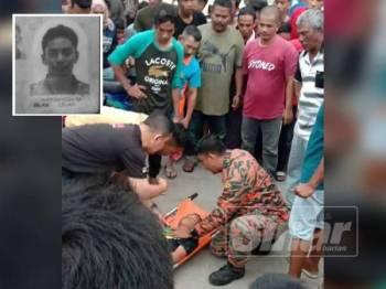 Mangsa yang berjaya diselamatkan dibawa ke Hospital Kepala Batas bagi menerima rawatan. Gambar kecil, Mohamed Zulfadhli