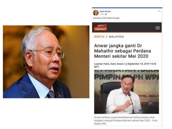 Bekas Perdana Menteri Datuk Seri Najib Tun Razak menyindir hasrat Ahli Parlimen Port Dickson yang menjangkakan bakal menjadi Perdana Menteri pada Mei 2020.