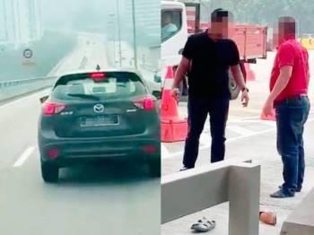 Pertengkaran dan pergaduhan melibatkan dua pemandu berusia 30 tahun (kiri) dan pemandu kereta Mazda CX5 (kanan) di Plaza Tol Bukit Kiara, Kuala Lumpur kelmarin.