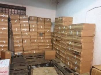 Rampasan rokok yang dibuat dalam Op Asap di Puchong Selangor semalam.