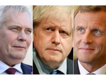 Rinne (kiri) memaklumkan beliau dan Macron (kanan) bersetuju memberi tarikh akhir baharu kepada Johnson.