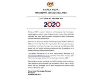 Kenyataan media Kementerian Kewangan berkenaan pelancaran logo Belanjawan 2020.