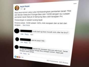 Tangkap layar kenyataan Najib di Facebook yang menegaskan perbandingan dibuat netizen berhubung pembelian tanah TRX dan Bandar Malaysia di Sungai Besi dengan pemebelian tanah rakyat di Kampung Baru adalah tidak tepat