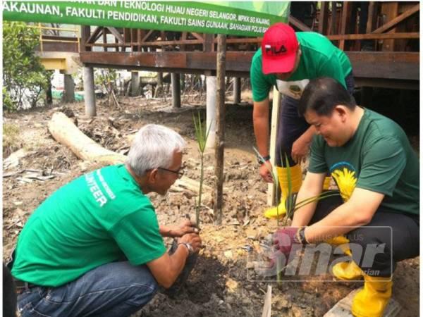 Loy Sian (kanan) menanam pokok sebagai simbolik pada Program Penanaman Pokok Nipah di Jeti Nelayan Kampung Sungai Kajang semalam.