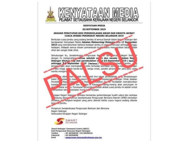 Notis penutupan semua sekolah di Selangor yang tular di media sosial hari ini disahkan palsu.