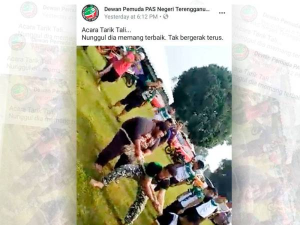 Aksi awal perlawanan tarik tali yang dikongsi menerusi media sosial Dewan Pemuda Pas Negeri Terengganu Official semalam.