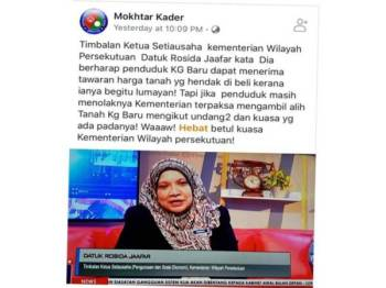 Seorang pemilik Facebook yang menggunakan nama Mokhtar Kader mendakwa Timbalan Ketua Setiausaha Kementerian Wilayah Persekutuan, Datuk Rosida Jaafar berkata kerajaan terpaksa mengambil alih kawasan tersebut mengikut undang-undang.
