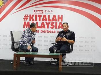 Ketua Polis Negara, Tan Sri Abdul Hamid Bador ketika bercakap dalam program Bicara Minda di Dewan Karangkraf di sini hari ini.