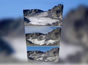 Glasier Pizol kini hanya tinggal seluas 26,000 meter persegi berbanding ukuran asal 320,000 meter persegi yang direkodkan saintis pada 1987.