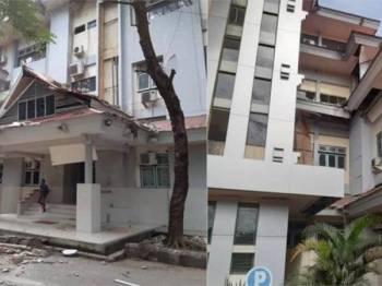 Salah sebuah bangunan Universiti Pattimura rosak akibat gegaran gempa bumi 6.5 magnitud yang menggegarkan Kota Ambon, Maluku hari ini.