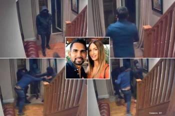 Rakaman CCTV menunjukkan Asif bergelut dengan perompak yang cuba memecah masuk rumahnya. - Foto AGENSI