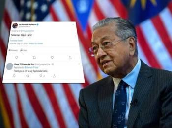 Usop Wilcha menerima ucapan selamat hari lahir daripada Perdana Menteri, Tun Dr Mahathir Mohamad.