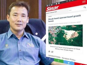 Laporan Sinar Online berhubung kuari granit haram di Teluk Bahang. Gambar kiri: Yew Tung Seang