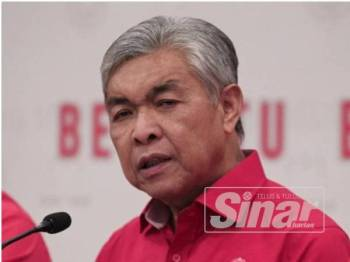 Ahmad Zahid pada sidang media Kongres Maruah Melayu di Bangunan UMNO, PWTC, Kuala Lumpur. - Foto: Zahid Izzani