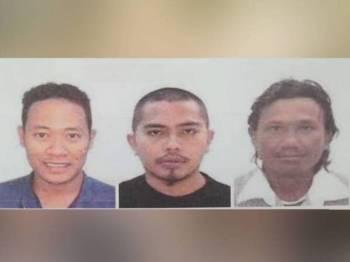 Polis sedang mencari (dari kiri) Wan Mohd Farid, Juraeme dan Asnawi sebagai saksi perbicaraan membabitkan kes samun dalam rumah untuk hadir memberi keterangan di Mahkamah Sesyen Shah Alam, Isnin depan.
