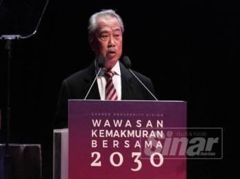 Tan Sri Muhyiddin Yassin berucap pada Wawasan Kemakmuran Bersama 2030 di Pusat Konvensyen Kuala Lumpur (KLCC), Kuala Lumpur, hari ini. FOTO:ZAHID IZZANI