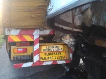 Keadan dua buah kenderaan yang terbabit dalam kemalangan berkenaan.