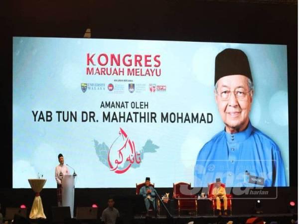Perdana Menteri, Tun Dr Mahathir Mohamad ketika berucap pada Kongres Maruah Melayu di Stadium Malawati di sini hari ini. - FOTO ASRIL ASWANDI OMAR