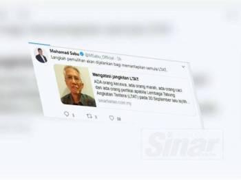 Mohamad menerusi laman Twitternya mengulas mengenai komentar oleh Kadir mengenai LTAT.