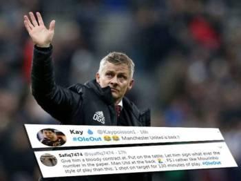 Antara reaksi netizen yang mahukan Solskjaer berhenti mengendalikan pasukan Manchester United yang tular di Twitter hari ini.