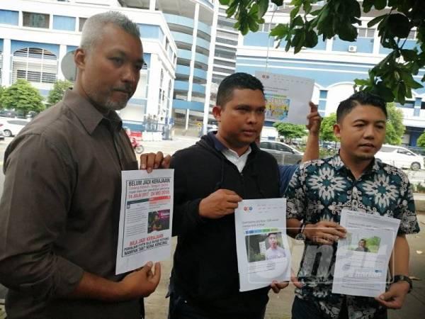 Faizal (tengah) pada sidang media menuntut Syed Saddiq bertanggungjawab dalam isu Foodpanda di Dang Wangi hari ini.