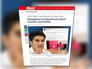 Paparan skrin laporan Sinar Online berkaitan isu boikot foodpanda, semalam.