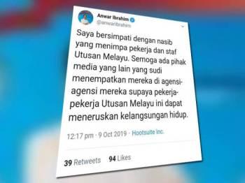 Anwar menzahirkan rasa simpatinya menerusi Twitter hari ini.