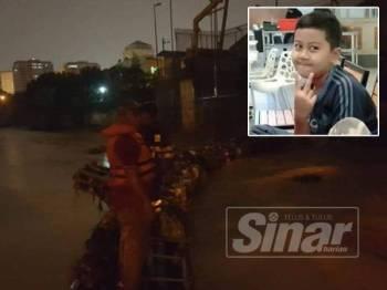 Operasi mencari dan menyelamat turut meliputi kawasan perangkap sampah. Gambar kecil: Mohamad Danish dipercayai terjatuh ke dalam longkang, semalam.