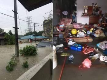 Hujan lebat hampir dua jam mengakibatkan beberapa rumah penduduk mengalami banjir kilat.