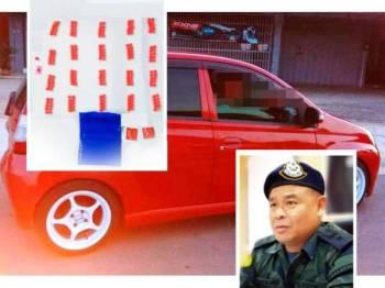 Kereta yang digunakan suspek untuk COD dadah sekitar Pasir Mas turut dirampas, selain 202 biji pil yaba dan eramin 5. (Gambar kecil: Azhari)