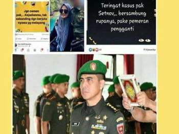 Kolonel Hendi Suhendi dipecat daripada TNI gara-gara tindakan isterinya memuat naik komen berbaur hinaan terhadap Menteri Keselamatan Indonesia yang ditikam di Banten Khamis lalu.