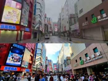 Keadaan bandar Akihabara sebelum dan selepas.