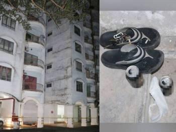 Mangsa dipercayai mempunyai masalah hutang dan rumah tangga. Selipar yang ditemui di tingkat lapan resort berkenaan. Foto: Ihsan polis