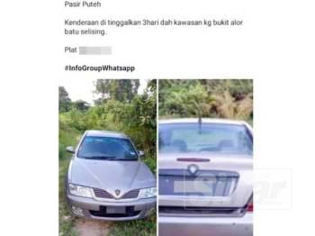 Kereta milik Mohd Hatta tular di Facebook apabila ia ditemui di Kampung Bukit Alor Batu, Selising.